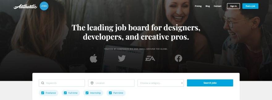 Authentic Jobs website