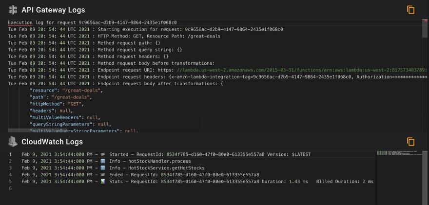 API Gateway Invoke Logs