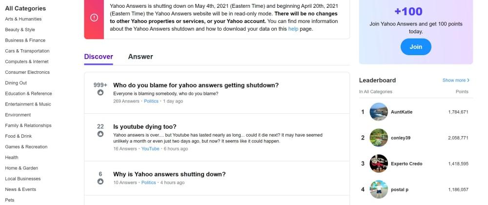 Cover image for Yahoo Secara Resmi Menghentikan Layanan Yahoo Answers Pada 4 Mei 2021