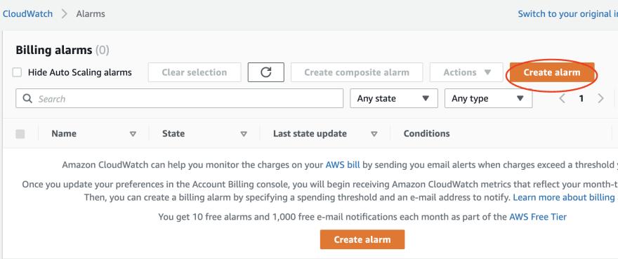 Create Alarm button