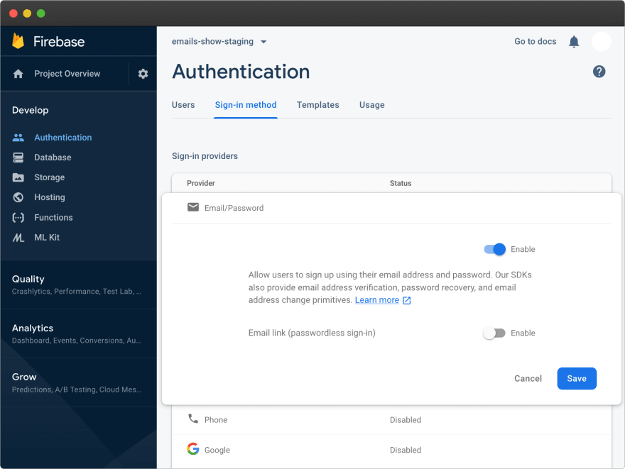 Firebase – auth enable