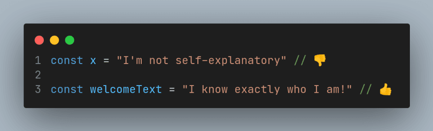 Meaningful variable and function names example