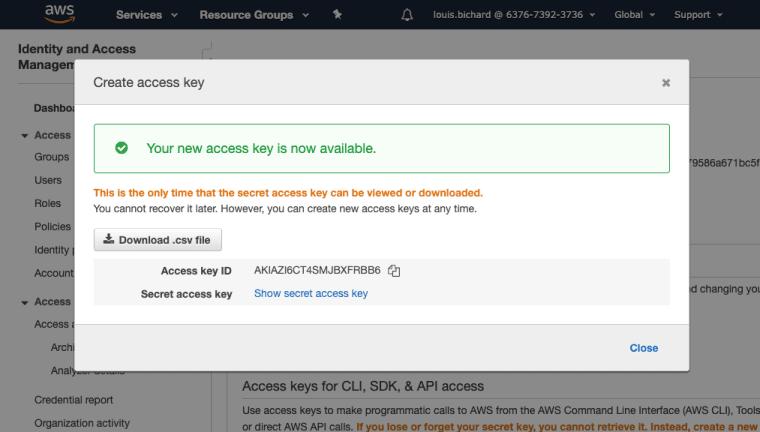 Create AWS Access Key