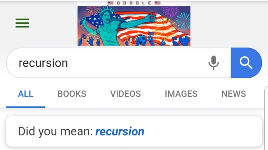 "Google search results for ""recursion"", showing the suggestion ""Did you mean recursion?"""