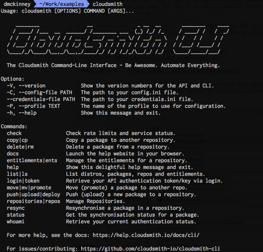 cloudsmith commands