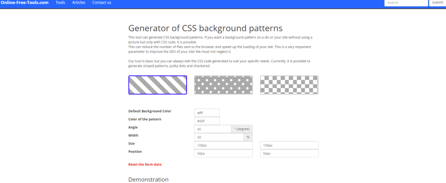 Generator of CSS background patterns