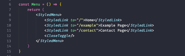 How the menu should look after adding our Link components