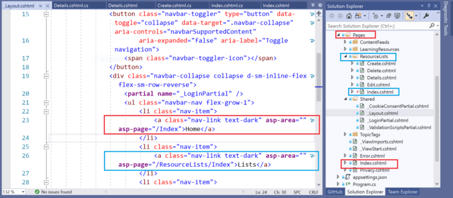 Navigation links in Razor Pages, from Layout page
