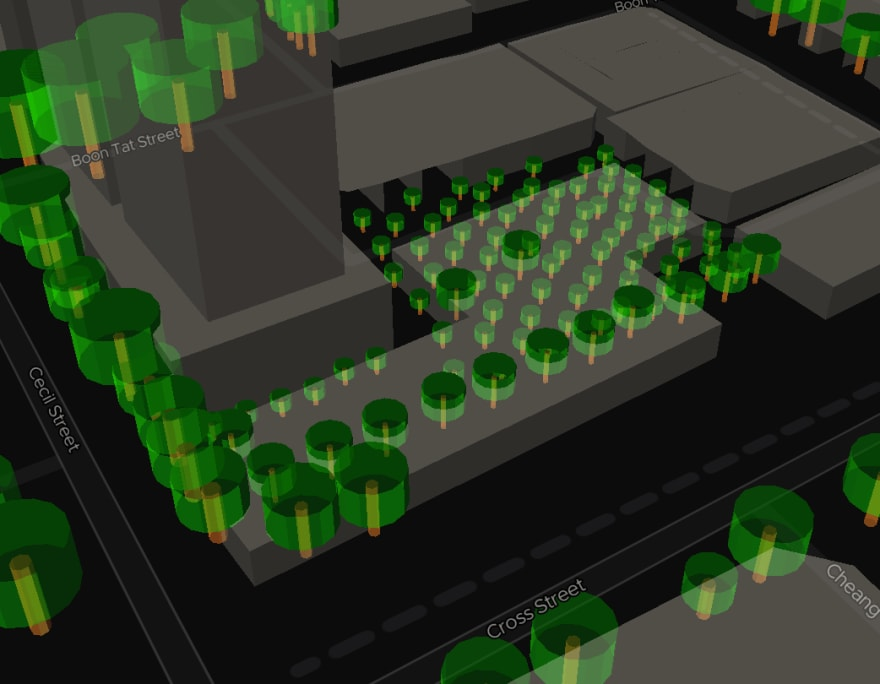 ExploreTrees.SG faux 3D trees — trees clashing with buildings