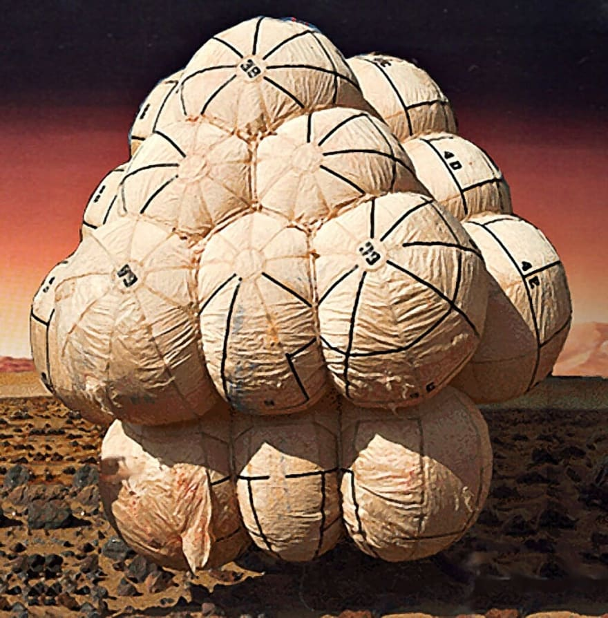 Mars Lander encased in balloons so it bounces on impact