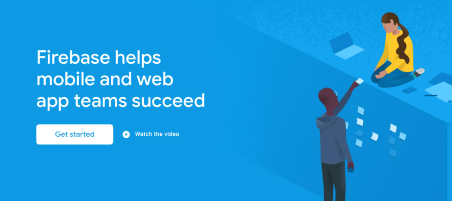 "Firebase's home page with a ""Get started"" button."