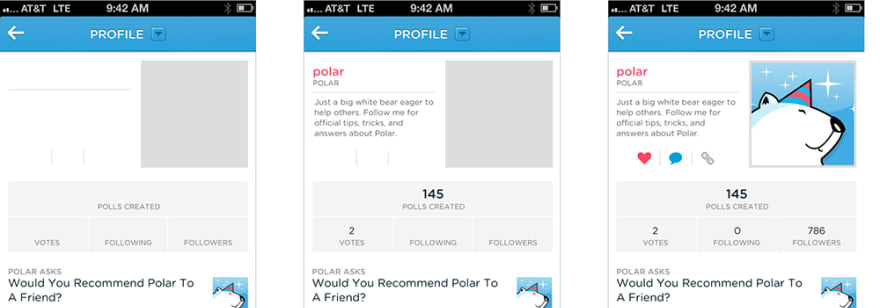 The Polar app used a skeleton screen for the name, image, and profile info of its user details page.