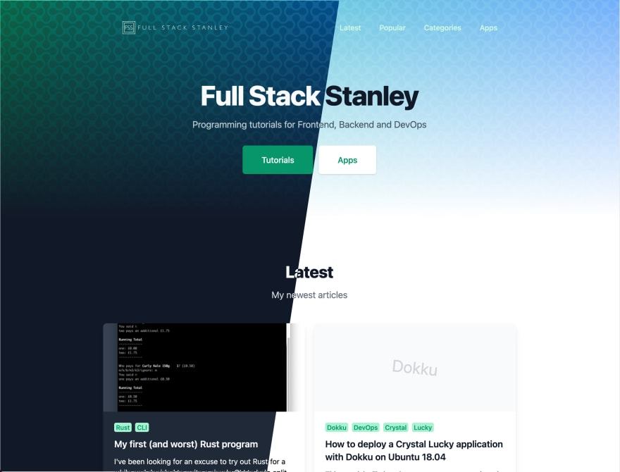 The new website available in light and dark mode