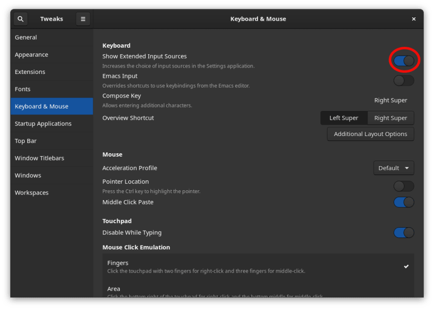 Enable Show Extended Input Sources
