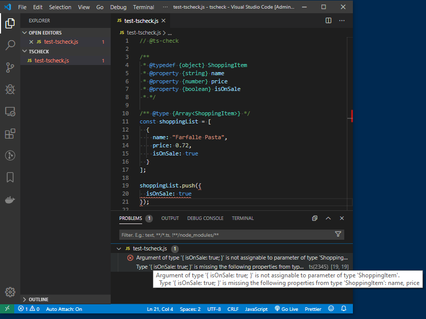 VSCode - Advanced TS-Check JS Types with JSDoc Annotations
