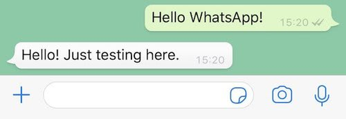 "If you send any message to your WhatsApp sandbox number you will get the response ""Hello! Just testing here."""