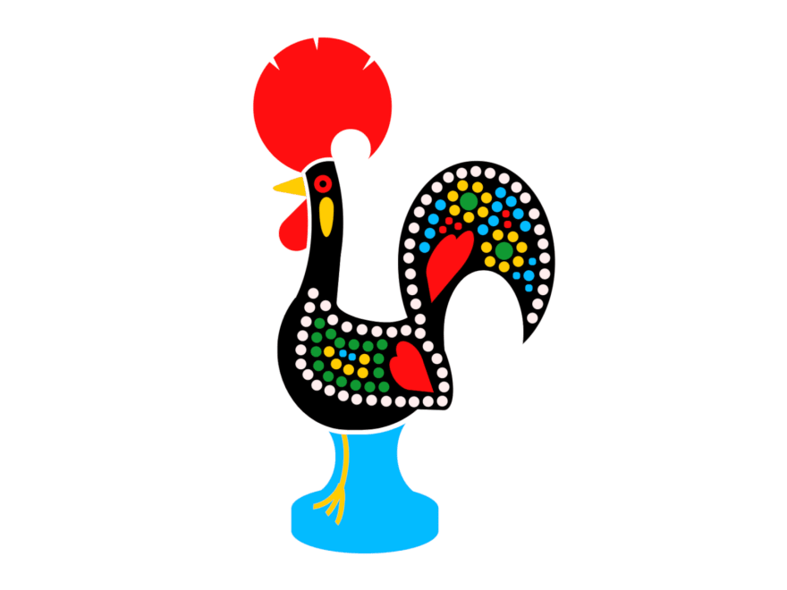 Cartoon of a rooster of Barcelos, a small figure with bright colors that depicts a rooster