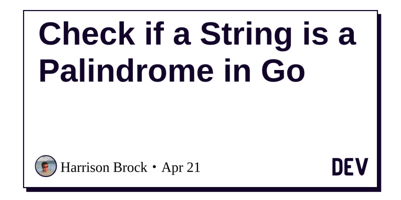 Discussion of Check if a String is a Palindrome in Go — DEV