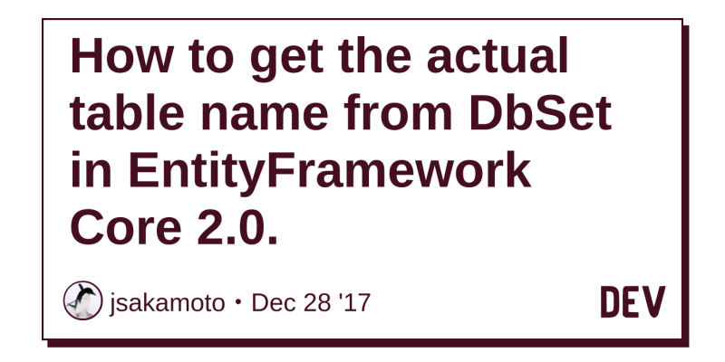 How to get the actual table name from DbSet in EntityFramework Core
