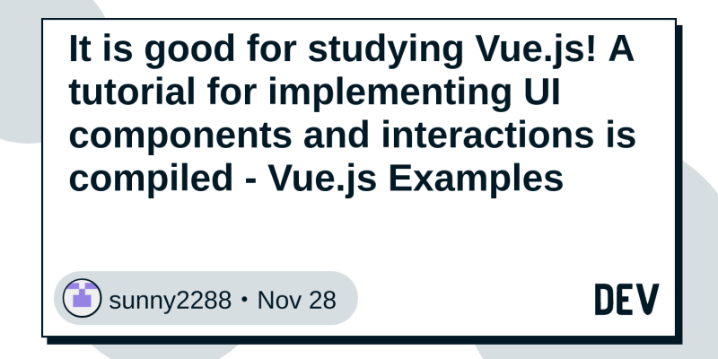 It is good for studying Vue js! A tutorial for implementing