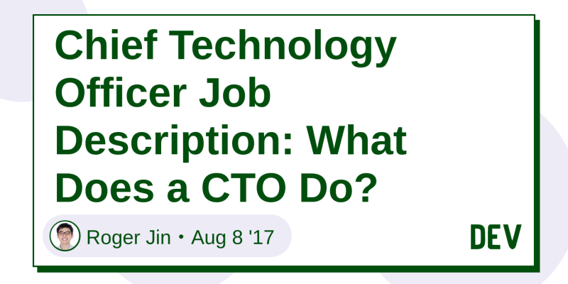 Chief Technology Officer Job Description What Does A CTO Do
