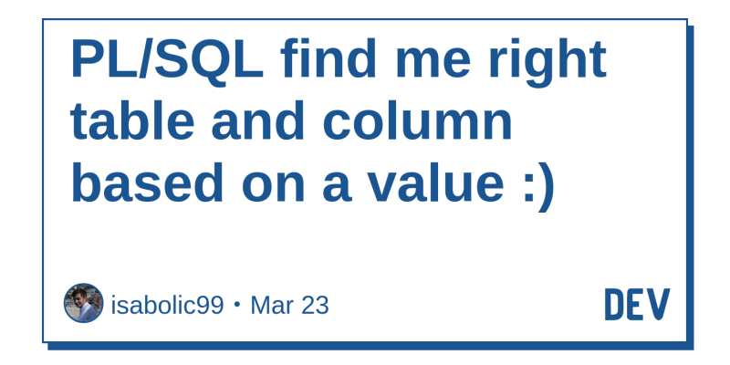 PL/SQL find me right table and column based on a value