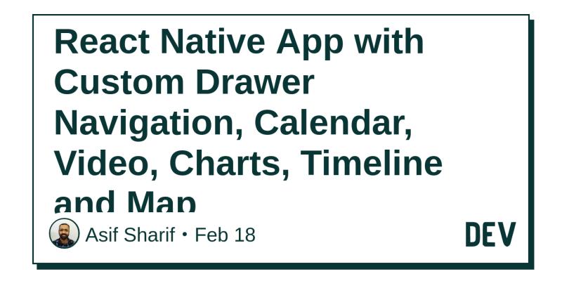React Native App with Custom Drawer Navigation, Calendar