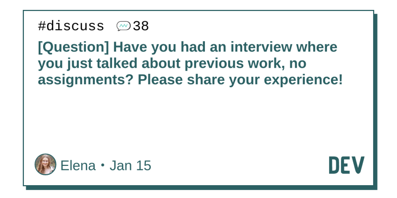 Question] Have you had an interview where you just talked about