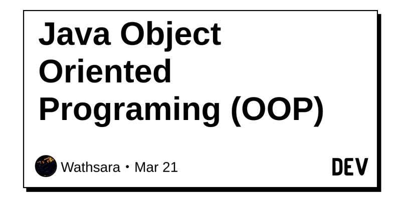 Java Object Oriented Programing (OOP) - DEV Community