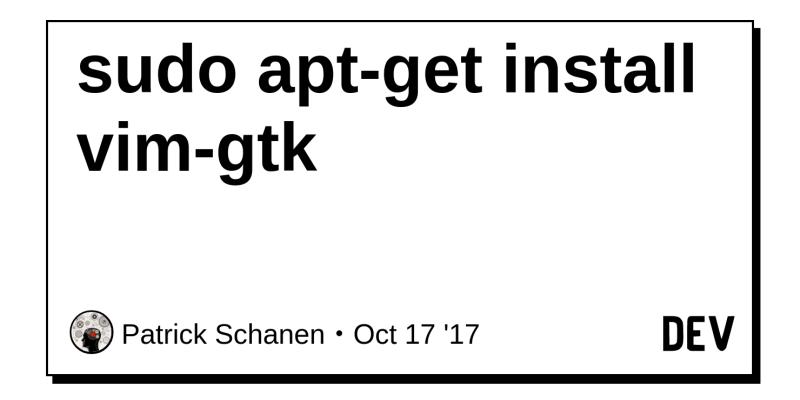 sudo apt-get install vim-gtk - DEV Community 👩 💻👨 💻