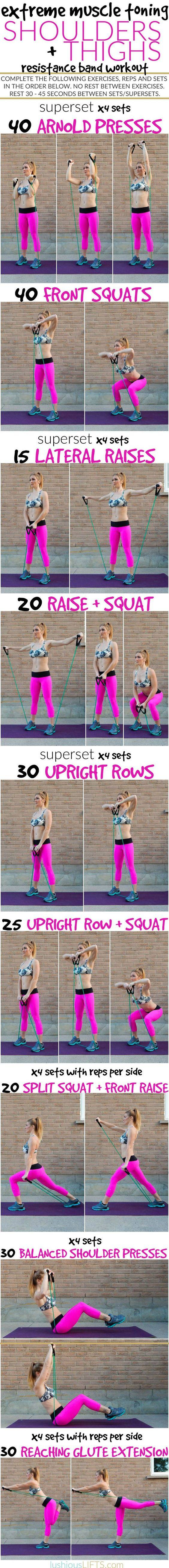 Shoulder and Thigh Resistance Band Workout