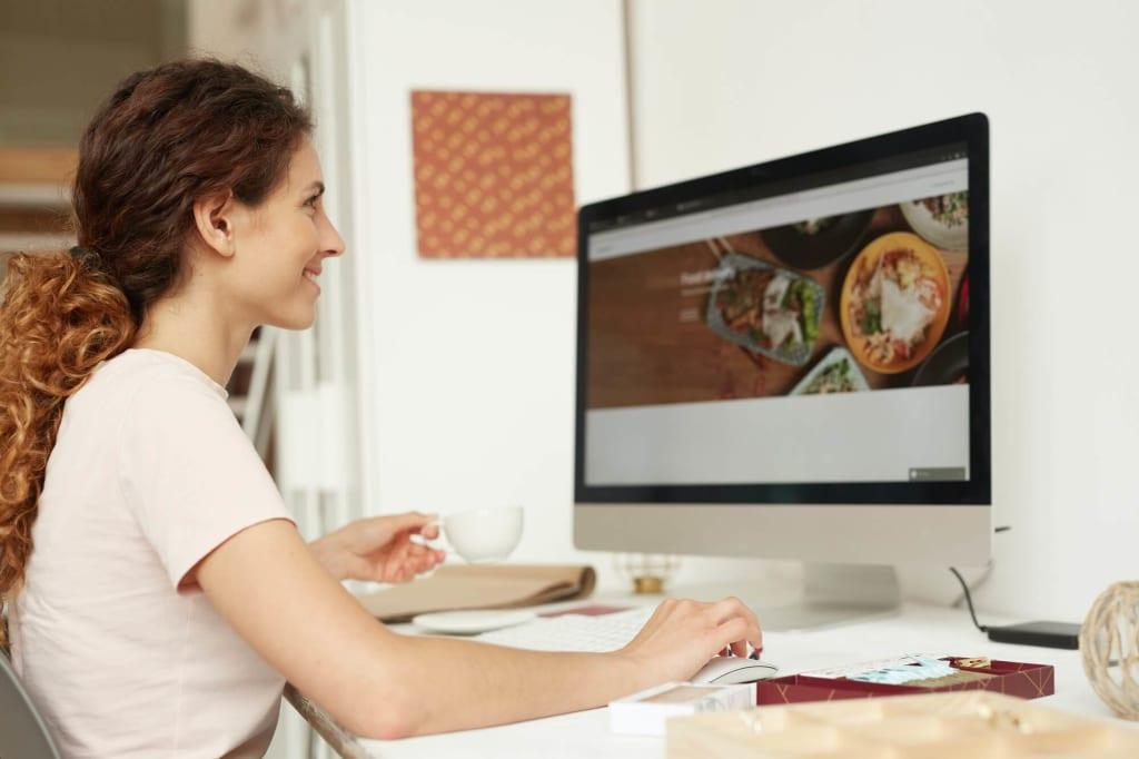 Web designer working on website