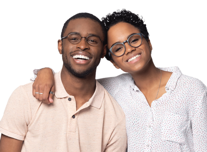 smiling couple wearing glasses