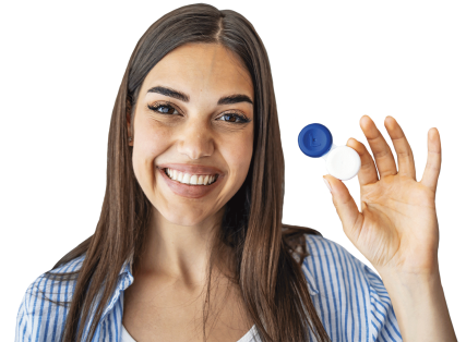 smiling woman holding contacts