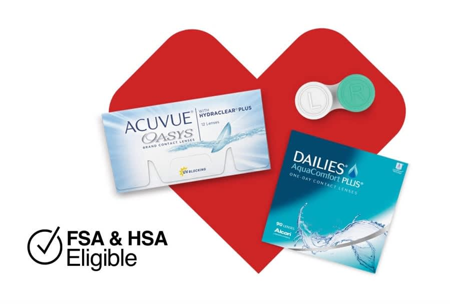 CVS Heart with boxes of contacts over it 'FSA and HSA Eligible'