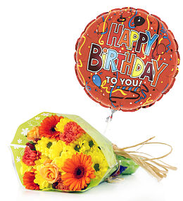 Birthday Flowers Balloons And Cake From Prestige Flowers