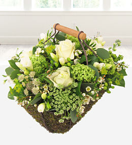 Green & White Sympathy Basket
