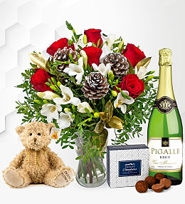 Festive Rose & Freesia Gift
