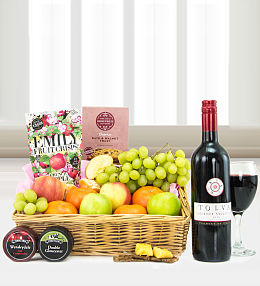 Wine, Cheese, and Fruit Tray
