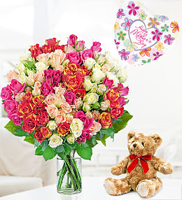 100 Roses Bear and Balloon