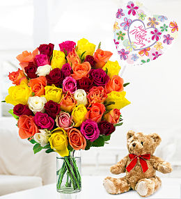 40 Roses Bear and Balloon