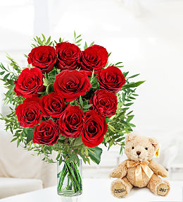 12 Roses and Bear