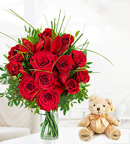 12 Luxury Roses and Bear