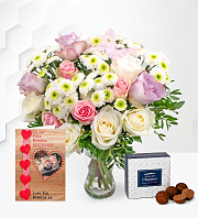 Rose Medley with Anniversary Card