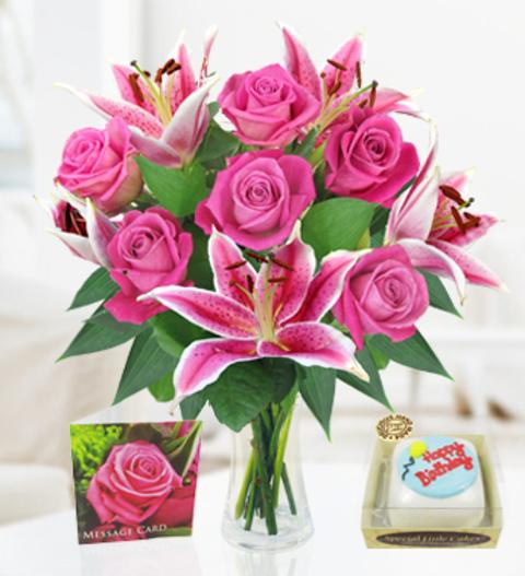 Rose Lily Birthday Cake Birthday Combos 2699 FREE