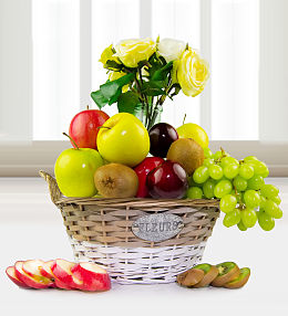 Fruit and Silk Flowers