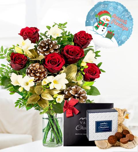 Festive Rose & Freesia Bundle - Free Chocs