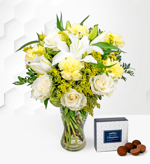 Pure Delight - Free Chocs - Flower Delivery - Sympathy Flowers - White Lilies - Next Day Flowers