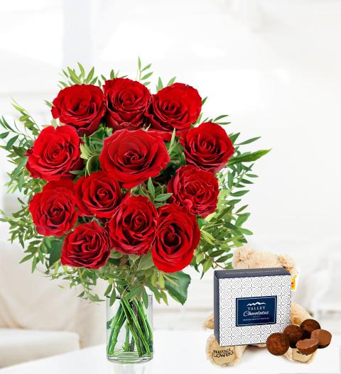 12 Roses and Bear - Free Chocs