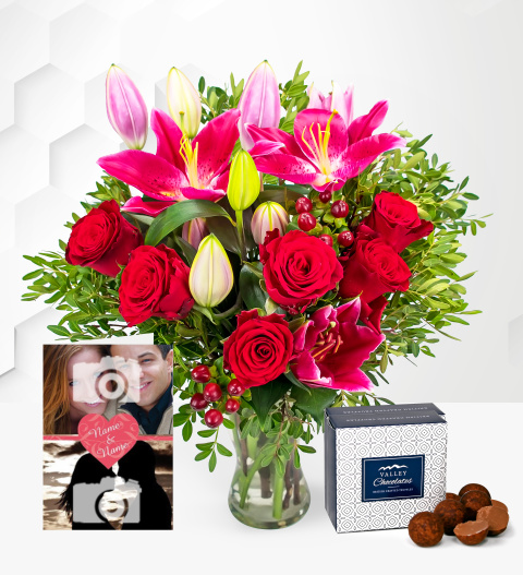 Be Mine with Card - Valentine's Flowers with Personalised Valentine's Day Card - Valentine's Gifts